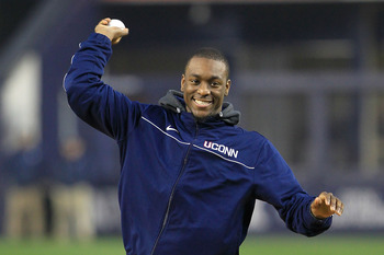 NEW YORK, NY - APRIL 13:  Kemba Walker, guard for the Connecticut Huskies throws out the first pitch before the game between the New York Yankees and the Baltimore Orioles at Yankee Stadium on April 13, 2011 in the Bronx borough of New York City.  (Photo
