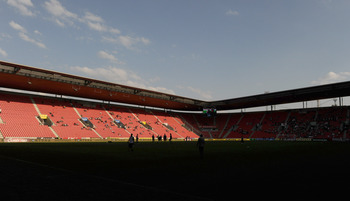 PRAGUE, CZECH REPUBLIC - APRIL 24:  General view of the Synot Tip Arena before the start of the Czech First League match between Bohemians 1905 and FK Mlada Boleslav on April 24, 2011 in Prague, Czech Republic.  (Photo by Adamek Ladislav/EuroFootball/Gett