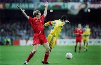 17 NOV 1993:  GEORGHE HAGI OF ROMANIA IN ACTION AGAINST PAUL BODIN OF WALES DURING THEIR WORLD CUP QUALIFYING MATCH. ROMANIA WON 2-1. Mandatory Credit: Chris Cole/ALLSPORT