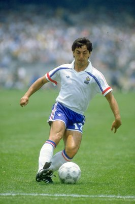 17 Jun 1986:  Alain Giresse of France in action during the World Cup match against Italy at the Olympic Stadium in Mexico City. France won the match 2-0. \ Mandatory Credit: David  Cannon/Allsport
