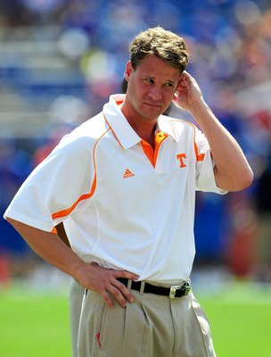 GAINESVILLE, FL - SEPTEMBER 19:  Head coach Lane Kiffin of the Tennessee Volunteers watches the action prior to the game against the Florida Gators at Ben Hill Griffin Stadium on September 19, 2009 in Gainesville, Florida.  (Photo by Sam Greenwood/Getty I