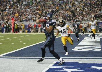 DETROIT - FEBRUARY 5:  Tight end Jerramy Stevens #86 of the Seattle Seahawks catches a 16-yard touchdown pass against Troy Polamalu #43 of the Pittsburgh Steelers during the third quarter in Super Bowl XL at Ford Field on February 5, 2006 in Detroit, Mich