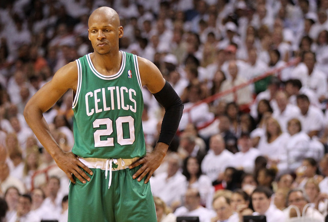 MIAMI, FL - MAY 03:  Ray Allen #20 of the Boston Celtics looks on during Game Two of the Eastern Conference Semifinals of the 2011 NBA Playoffs against the Miami Heat at American Airlines Arena on May 3, 2011 in Miami, Florida. NOTE TO USER: User expressl