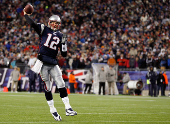 FOXBORO, MA - JANUARY 16:  Tom Brady #12 of the New England Patriots throws the ball against the New York Jets during their 2011 AFC divisional playoff game at Gillette Stadium on January 16, 2011 in Foxboro, Massachusetts.  (Photo by Jim Rogash/Getty Ima
