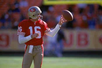 SAN FRANCISCO - DECEMBER 19:  Quarterback Joe Montana #16 of the San Francisco 49ers prepares to take on the Tampa Bay Buccaneers at Candlestick Park on December 19, 1992 in San Francisco, California.  The 49ers won 21-14.  (Photo by George Rose/Getty Ima