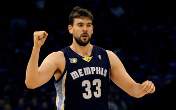 OKLAHOMA CITY, OK - MAY 01:  Marc Gasol #33 of the Memphis Grizzlies reacts against the Oklahoma City Thunder in Game One of the Western Conference Semifinals in the 2011 NBA Playoffs on May 1, 2011 at Oklahoma City Arena in Oklahoma City, Oklahoma.  NOTE