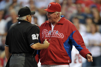 Phillies Manager Charlie Manuel Arguing a Call