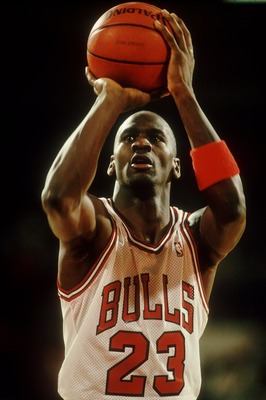 Michael Jordan at the free throw line during the 1988-89 season. Mandatory Credit: Jonathan Daniel/ALLSPORT