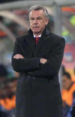 BLOEMFONTEIN, SOUTH AFRICA - JUNE 25:  Ottmar Hitzfeld head coach of Switzerland looks thoughtful during the 2010 FIFA World Cup South Africa Group H match between Switzerland and Honduras at the Free State Stadium on June 25, 2010 in Mangaung, Bloemfonte