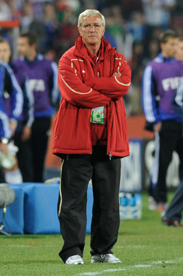 JOHANNESBURG, SOUTH AFRICA - JUNE 24:  Marcello Lippi head coach of Italy looks on dejected as Italy are knocked out of the competition, during the 2010 FIFA World Cup South Africa Group F match between Slovakia and Italy at Ellis Park Stadium on June 24,