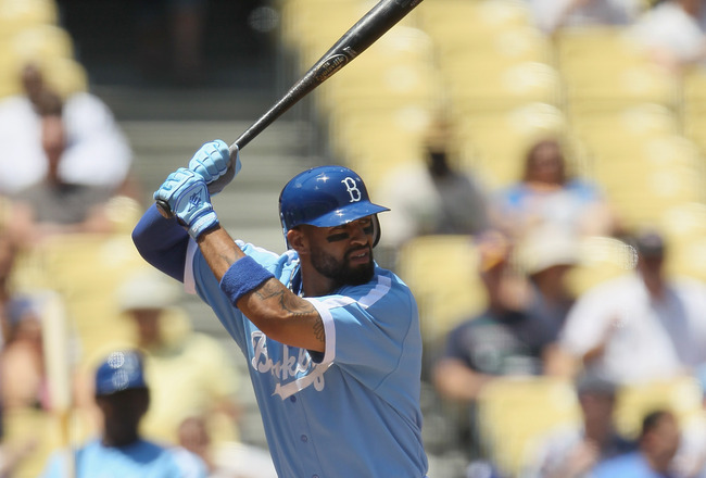 LOS ANGELES, CA - MAY 04:  Matt Kemp #27 of the Los Angeles Dodgers bats against the Chicago Cubs at Dodger Stadium on May 4, 2011 in Los Angeles, California.  (Photo by Jeff Gross/Getty Images)