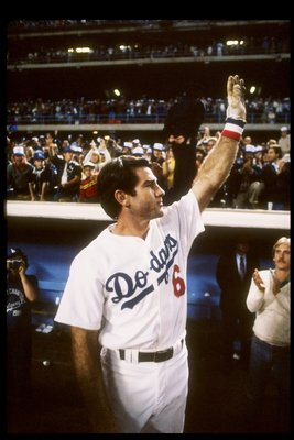 1982:   First baseman Steve Garvey of the Los Angeles Dodgers raises his arm to the crowd. Mandatory Credit: Allsport  /Allsport