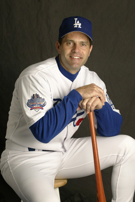 24 Feb 2002:  Eric Karros  #23 of the Los Angeles  Dodgers is pictured  during  the Dodgers  media  day at  at their spring training facility in Vero Beach , Florida. DIGITAL IMAGE.