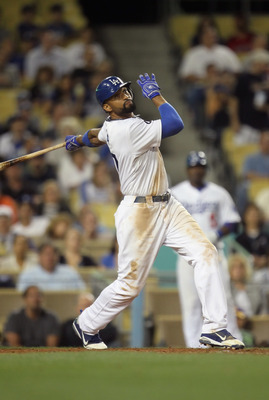 LOS ANGELES, CA - APRIL 16:  Matt Kemp #27 of the Los Angeles Dodgers bats against the St Louis Cardinals at Dodger Stadium on April 16, 2011 in Los Angeles, California.  (Photo by Jeff Gross/Getty Images)