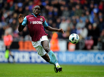 WIGAN, ENGLAND - MAY 15:  Demba Ba of West Ham United in action during the Barclays Premier League match between Wigan Athletic and West Ham United at the DW Stadium on May 15, 2011 in Wigan, England.  (Photo by Clive Mason/Getty Images)