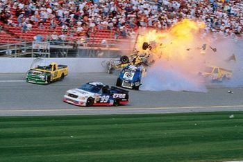 Geoff Bodine's 2000 Daytona crash ripped his truck to pieces.