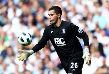 LONDON, ENGLAND - MAY 22: Ben Foster of Birmingham City kicks from the hand during the Barclays Premier League match between Tottenham Hotspur and Birmingham City at White Hart Lane on May 22, 2011 in London, England.  (Photo by Julian Finney/Getty Images