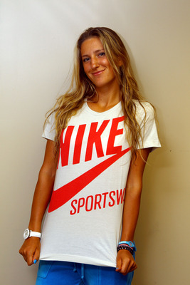 KEY BISCAYNE, FL - APRIL 02:  Victoria Azarenka of Belarus poses for a photo after she won her match against Maria Sharapova of Russia during the women's singles championship at the Sony Ericsson Open at Crandon Park Tennis Center on April 2, 2011 in Key