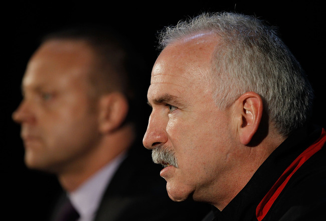 CHICAGO - MAY 27: Head coach Joel Quenneville of the Chicago Blackhawks (R) and General Manager Stan Bowman meet the press during Stanley Cup media day at the United Center on May 27, 2010 in Chicago, Illinois. (Photo by Jonathan Daniel/Getty Images)