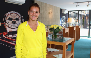 ROME, ITALY - MAY 09:  Agnieszka Radwanska of Poland poses for a photograph at the Rolex suite during day two of the Internazoinali BNL D'Italia at the Foro Italico Tennis Centre on May 9, 2011 in Rome, Italy.  (Photo by Clive Brunskill/Getty Images)
