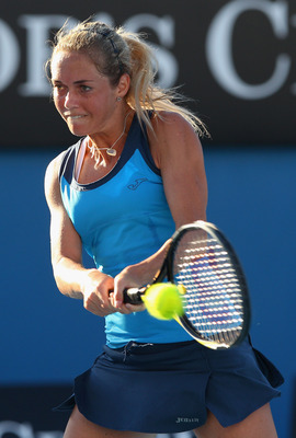 MELBOURNE, AUSTRALIA - JANUARY 20:  Klara Zakopalova of the Czech Republic plays a backhand in her second round match against Lucie Safarova also of the Czech Republic during day four of the 2011 Australian Open at Melbourne Park on January 20, 2011 in Me