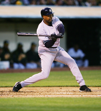 OAKLAND, CA - APRIL 3:  Bernie Williams #51 of the New York Yankees bats against the Oakland Athletics during the Opening Day game at McAfee Coliseum on April 3, 2006 in Oakland, California. The Yankees defeated the A's 15-2.  (Photo by Jed Jacobsohn/Gett