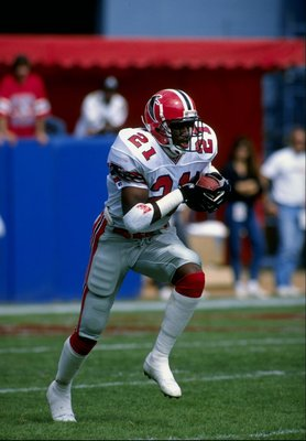 1989:  Defensive back Deion Sanders of the Atlanta Falcons in action during a game. Mandatory Credit: Rick Stewart  /Allsport