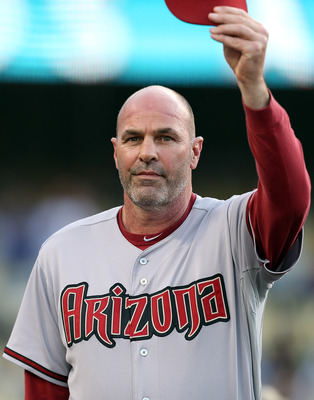LOS ANGELES - JULY 31:  Arizona Diamondbacks manager Kirk Gibson salutes the crowd before a game against the Los Angeles Dodgers on Kirk Gibson Bobblehead Night at Dodger Stadium on July 31, 2012 in Los Angeles, California. (Photo by Josh Hedges/Getty Ima