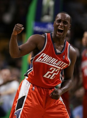 BOSTON - NOVEMBER 08:  Brevin Knight #22 of the Charlotte Bobcats celebrates as he and his teammates force an overtime period against the Boston Celtics on November 8, 2006 at the TD Banknorth Garden in Boston, Massachusetts. The Celtics defeated the Bobc