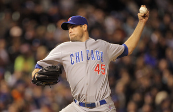DENVER, CO - APRIL 16:  Relief pitcher Sean Marshall #45 of the Chicago Cubs delivers against the Colorado Rockies at Coors Field on April 16, 2011 in Denver, Colorado.  (Photo by Doug Pensinger/Getty Images)