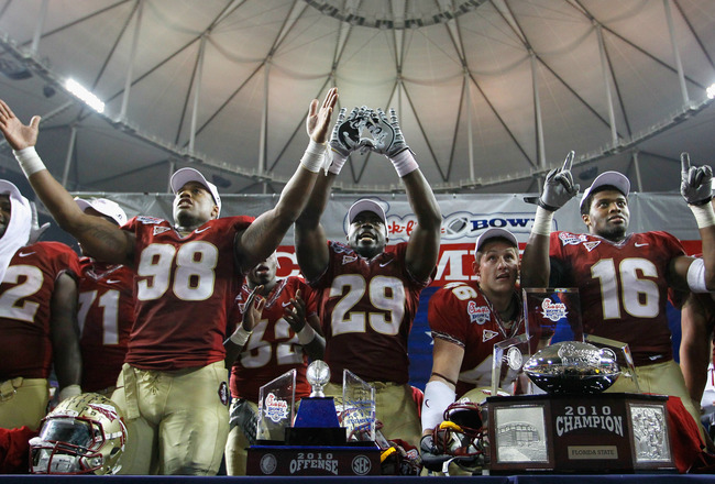 ATLANTA, GA - DECEMBER 31:  Head coach Jimbo Fisher and the Florida State Seminoles reacts after their 26-17 win over the South Carolina Gamecocks during the 2010 Chick-fil-A Bowl at Georgia Dome on December 31, 2010 in Atlanta, Georgia.  (Photo by Kevin
