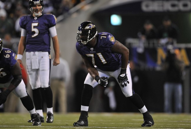 BALTIMORE - NOVEMBER 29:  Jared Gaither #71 of the Baltimore Ravens defends against the Pittsburgh Steelers at M&T Bank Stadium on November 29, 2009 in Baltimore, Maryland. The Ravens defeated the Steelers 20-17. (Photo by Larry French/Getty Images)