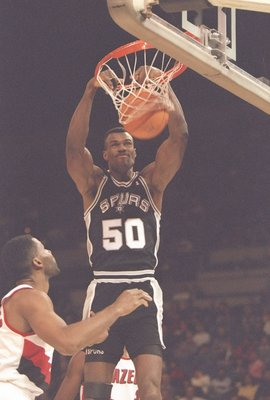 2 Dec 1994:  Center David Robinson of the San Antonio Spurs sinks the ball during a game against the Portland Trail Blazers at the Rose Garden in Portland, Oregon.  The Spurs won the game, 95-91. Mandatory Credit: ALLSPORT USA  /Allsport Mandatory Credit: