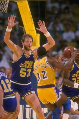 Center Mark Eaton of the Utah Jazz plays defense during a game.