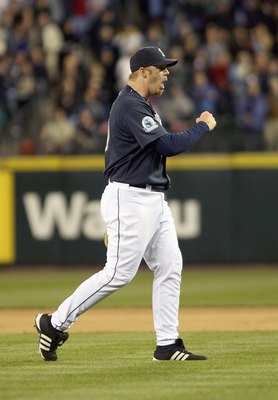 SEATTLE - MAY 11: Closing pitcher J.J. Putz #20 of the Seattle Mariners reacts after defeating the New York Yankees 3-0 on May 11, 2007 at Safeco Field in Seattle, Washington. (Photo by Otto Greule Jr/Getty Images)