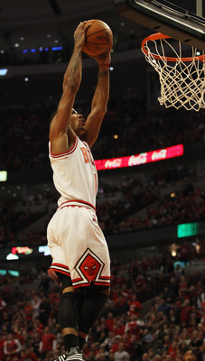 CHICAGO, IL - APRIL 16: Derrick Rose #1 of the Chicago Bulls goes up for a dunk against the Indiana Pacers in Game One of the Eastern Conference Quarterfinals in the 2011 NBA Playoffs at the United Center on April 16, 2011 in Chicago, Illinois. The Bulls