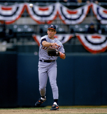 OAKLAND, CA - JUNE 25:  Alan Trammell #3 of the Detroit Tigers throws the ball during the game against the Oakland Athletics at Oakland-Alameda Coliseum on June 25, 1996 in Oakland, California. The Tigers defeated the A's 10-8. (Photo by Otto Greule Jr/Ge
