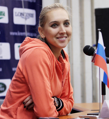 MOSCOW, RUSSIA - OCTOBER 19: Elena Vesnina of Russia attends a press conference during the XXI International Tennis Tournament Kremlin Cup 2010 at the Olympic Stadium on October 19, 2010 in Moscow, Russia.  (Photo by Oleg Nikishin/Getty Images)