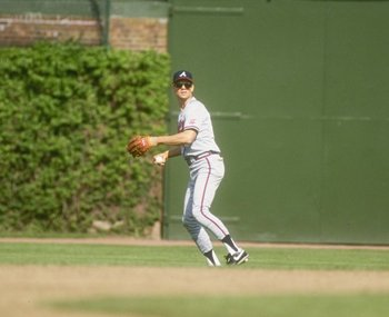 Outfielder Dale Murphy of the Atlanta Braves in action in the outfield.