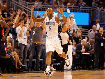 ORLANDO, FL - APRIL 26:  Quentin Richardson #5 of the Orlando Magic celebrates a three point shot against the Atlanta Hawks oduring Game Five of the Eastern Conference Quarterfinals of the 2011 NBA Playoffs on April 26, 2011 at the Amway Arena in Orlando,