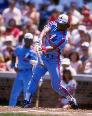 Sep 1988:  Infielder Tim Raines of the Montreal Expos swings at the ball during a game against the Chicago Cubs at Wrigley Field in Chicago, Illinois.  Mandatory Credit: Jonathan Daniel  /Allsport