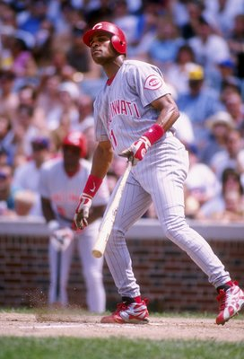 16 Jul 1995:  Infielder Barry Larkin of the Cininnati Reds in action during a game against the Chicago Cubs at Wrigley Field in Chicago, Illinois.  The Cubs won the game 7-5.  Mandatory Credit: Jonathan Daniel  /Allsport