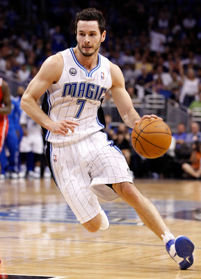 ORLANDO, FL - APRIL 19:  J.J. Redick #7 of the Orlando Magic drives against the Atlanta Hawks during Game Two of the Eastern Conference Quarterfinals of the 2011 NBA Playoffs on April 19, 2011 at the Amway Arena in Orlando, Florida.  NOTE TO USER: User ex