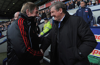 WEST BROMWICH, ENGLAND - APRIL 02: Liverpool manager Kenny Dalglish and West Brom manager Roy Hodgson shake hands before the Barclays Premier League match between West Bromwich Albion and Liverpool at The Hawthorns on April 2, 2011 in West Bromwich, Engla
