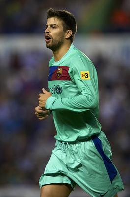 VALENCIA, SPAIN - MAY 11:  Gerard Pique of Barcelona looks on during the La Liga match between Levante UD and Barcelona at Ciutat de Valencia on May 11, 2011 in Valencia, Spain. The match ended 1-1.  (Photo by Manuel Queimadelos Alonso/Getty Images)