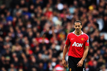 BLACKBURN, ENGLAND - MAY 14:  Rio Ferdinand of Manchester United looks on during the Barclays Premier League match between Blackburn Rovers and Manchester United at Ewood park on May 14, 2011 in Blackburn, England.  (Photo by Dean Mouhtaropoulos/Getty Ima