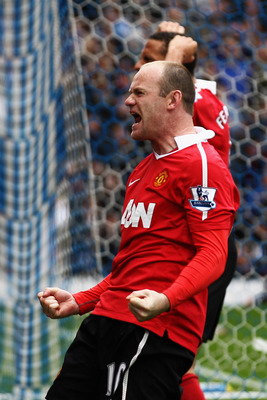 BLACKBURN, ENGLAND - MAY 14:  Wayne Rooney of Manchester United celebrates after scoring a penalty during the Barclays Premier League match between Blackburn Rovers and Manchester United at Ewood park on May 14, 2011 in Blackburn, England.  (Photo by Dean