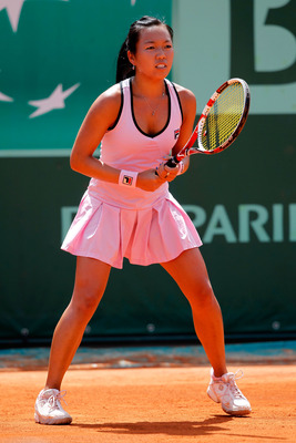 PARIS, FRANCE - MAY 24:  Vania King of USA prepares to receive a serve during the women's singles round one match between Dominika Cibulkova of Slovakia and Vania King of USA on day three of the French Open at Roland Garros on May 24, 2011 in Paris, Franc