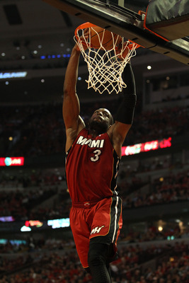 CHICAGO, IL - MAY 18:  Dwyane Wade #3 of the Miami Heat dunks in the second quarter against the Chicago Bulls in Game Two of the Eastern Conference Finals during the 2011 NBA Playoffs on May 18, 2011 at the United Center in Chicago, Illinois. NOTE TO USER