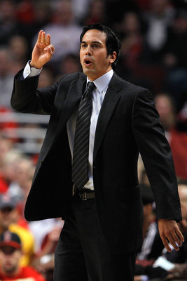 CHICAGO, IL - MAY 18:  Head coach Erik Spoelstra of the Miami Heat reacts against the Chicago Bulls in Game Two of the Eastern Conference Finals during the 2011 NBA Playoffs on May 18, 2011 at the United Center in Chicago, Illinois. NOTE TO USER: User exp